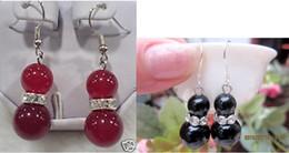 $enCountryForm.capitalKeyWord Australia - wholesale Pair 2PCS Asian Same Design Tibet Silver Ear Hook And Black Jade Red Jade Green Jade Beads Drop Earrings