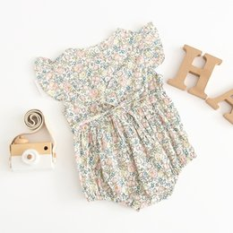 Elegant Jumpsuits Sleeves Australia - kids designer clothes girls climbing summer short sleeve o-neck full flowers romper Elegant girl infant Jumpsuits Romper baby clothes
