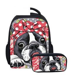 12 Inch Girl Backpack Australia - Backpack Children 2 set 12 Inch Schoolbag for Kids Girls Boston Terrier Pencil Bag Cartoon Cute Small Baby Kids Backpack
