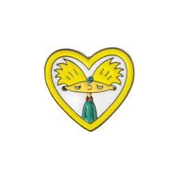 $enCountryForm.capitalKeyWord Australia - Yellow Heart Yellow Hair Boy Brooch Pins Metal Badge For Backpack Hard Enamel Pins Fashion Jewelry Jacket Denim Cloth Summer Hat Accessory