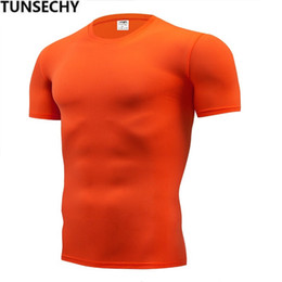 4xl Compression Shorts Australia - TUNSECHY Fashion pure color T-shirt Men Short Sleeve compression tight Tshirts Shirt S- 4XL Summer Clothes Free transportation