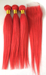 $enCountryForm.capitalKeyWord Australia - Brazilian Human Virgin Hair Weft Red color Weaves Double Drawn 3 Bundles with closure for full head