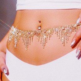 Bling Rhinestone Tassel Belly Waist Chain Body Jewelry Women Sexy Bikini Beach Body Chain Vintage Charm Body Chain Jewelry Gifts T200508 on Sale