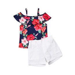 Toddler Winter Outfits UK - Cute Casual Sweet Toddler Baby Kids Girl Off shoulder Rose Printed Top+Shorts Outfit Pullover Clothes 1-5years old