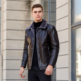 Wholesale brown leather jacket men sale for sale – winter new Sheepskin jacket Hot Sale Winter Thick Leather Garment Casual flocking Leather Jacket Men s Clothing Men