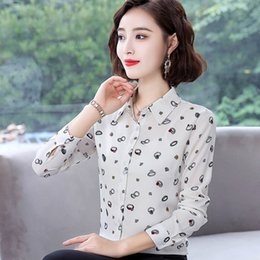 model clothes lady UK - Classic Printed Lady White Blouses Plus Size S-4XL Long Sleeve Clothing 2019 New Model Women Black Shirts