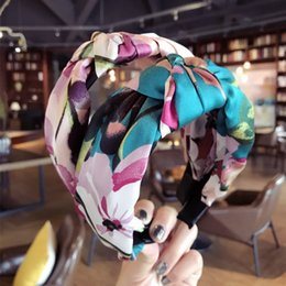 Wholesale Hair Accesorries Haird bands for Women Baby Head band Girl Headbands Floral Print Silk Satin fabric Head wear Crossheadband