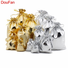 Gold Christmas Candy Gift Bags Australia - DouFan 10pcs set Shiny Gold Silver Organza Bag Candy Gift Bags Wedding Party Favor Pouch Christmas Decoration Packaging Bags