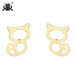 Simple Gold Designs 18k Australia - RIR Gold Silver Rose Gold Cute Cat Small Stud Earrings for Women In Stainless Steel Lovely Ear Jewelry Simple Design