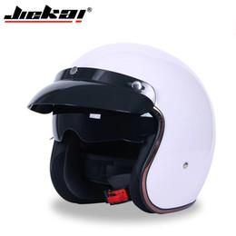 Pilot motorcycle helmets online shopping - DOT certified retro pilot helmet Casco capacetes motorcycle helmet sun visor JIEKAI best sales