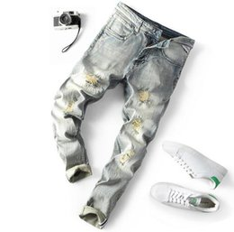 White Long Pants Men Australia - 2019 sales Popular Designer Men Distressed zipper Ripped Jeans Motorcycle Biker trousers Causal Denim Pants Streetwear mens long Jeans