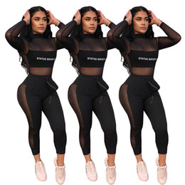 Wholesale polyester leisure suits resale online - 18YX9030 Women s Two Piece Pants sexy new two piece leisure suit stitching letters fashion outfits outwear sportswear casual trousers
