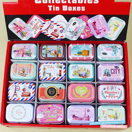 $enCountryForm.capitalKeyWord NZ - 32pcs lot Vintage Cartoon Tin Box 5.5*3.8*2.5cm Candy Pill Chutty Mini Storage House Decoration Collectables Display N1901 J190713