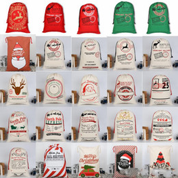 $enCountryForm.capitalKeyWord Australia - Santa Sacks Monogrammable Christmas Gift Bags Santa Sack Drawstring Bag Santa Claus Deer 25 Designs Bulk in Stock TC181022