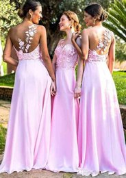 $enCountryForm.capitalKeyWord Australia - 2019 Beach A-line Princess One-Shoulder Pink Chiffon Bridesmaid Dresses Lace Applique Sweep Train Long Backless Formal Wedding Guest Dress