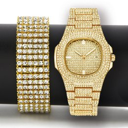 0b4f7f9bcc452 Men Hip Hop Iced Out Bling Simulated Lab CZ Luxury Gold Silver Watch    Zircon Bracelet Gift Set