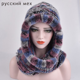 Rabbit Fur Scarves Caps Australia - Real Fur Hat Beanie Rex Rabbit Fur Scarves Female Dual-Use Winter Caps Russisn Natural Genuine Fur Beanie Hats Scarf for Women