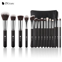 bags goat hair Canada - 15pcs Makeup Brushes Set Goat Hair Synthetic Hair Make Up Brush Professional Cosmetics Kit With Bag