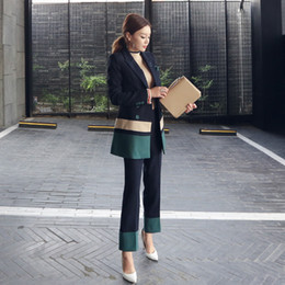 Wholesale womens business suits resale online - women busines Elegant Pants Suits Blazer Two Piece Set Jacket Pant Womens Business Suits Slim Fit Female Office Uniform