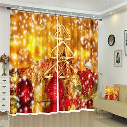 white gold curtains Australia - Christmas decorations Luxury Blackout Gold pattern 3D Curtains For Living room Bedding room Office Drapes Cotinas Rideaux