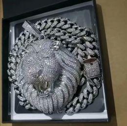 Wholesale Iced Out Pendant Cuban Link Chain Big Pendants Mens Jewelry Hip Hop Luxury Designer Necklace Bling Diamond Lion Animal Rapper DJ Accessories