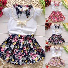$enCountryForm.capitalKeyWord Australia - Pudcoco Girl Set 3Y-7Y US Stock 3pcs Girls T-shirt+Flower Skirts+Necklace Outfit Princess Dress Clothes