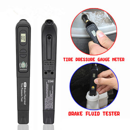 vw accessories Canada - 2 In 1 Digital Tire Pressure Gauge Brake Fluid Tester Pen LCD Display Car Diagnostic Tool For DOT3 DOT4 DOT5.1 Car Accessories