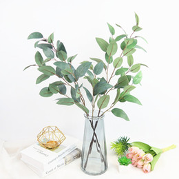 Wholesale Artificial Twig Dry Branches Very Realistic Fake Leaf Green Plant Wedding Props Table Decor Silk Flowers cm