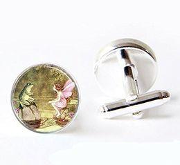 $enCountryForm.capitalKeyWord NZ - Vintage Frog And Fairy Glass Cuff Links-Silver Luxury Mythology Folklore Fantasy Cuff links Jewelry-Cufflinks Glass Dome Cuff links