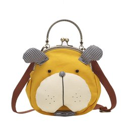 Cute Canvas Handbags Australia - Cute Dog Shape Clip Bags Canvas Handbags Women Metal Handle Shoulder Messenger Bags Lady Girls Small Phone Bags Brands