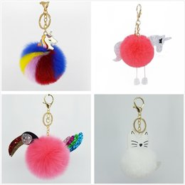 Cute mobile keyChains online shopping - Girl Cute Keychain Pendent Soft Hairy Ball Creative Keybuckle Unicorn Flamingo Bear Mobile Phone Keyring High Quality yz Ww