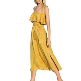 Wholesale Sexy Summer Casula Womens Fashion Dresses O Neck Ladies Strap Strapless Tube Fold Solid Color Dress