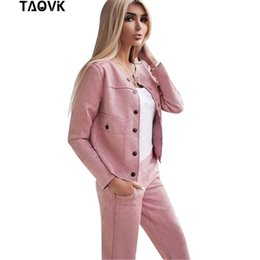 $enCountryForm.capitalKeyWord Australia - Taovk Women Suede Tracksuit Single-breasted Collarless Jacket + Pants Two Piece Set Female Streetwear Suits MX190809
