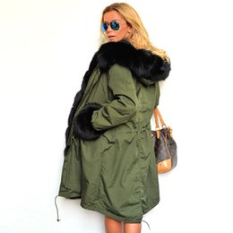 Army Green Ladies Casual Jacket Australia - 3XL Women Long Coat Parka Winter Big Faux Green Army Jacket Fur Collar Removable Thick Warm Hooded Jackets Ladies Outerwear