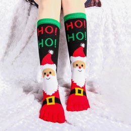 Discount soccer bedding - 2020 Christmas Socks with Toes Cotton Crew Xmas Five Finger Bed Socks Unisex Free Size Stocking Fast Shipping