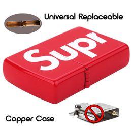 Lighter casing online shopping - 1Pc Universal Kerosene Lighter Copper Case Not Include Liner Fashion Brand Full Letter Replace Case E