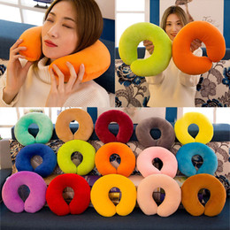 Free christmas giFts For kids online shopping - Solid U Shaped Pillow Soft Plush Vehicular Neck Throw Pillow Toys Nap For Travel Rest Student Adult Kids Christmas Gifts Free DHL WX9