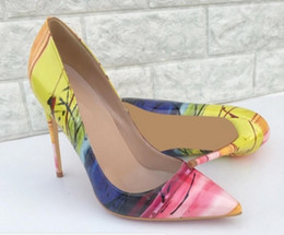 Wholesale yellow dress code for sale – plus size new type yellow Women s High heeled shoes Cusp Fine heel Single shoes cm cm Big code Blue Patchwork nightclub dress red bottom shoes