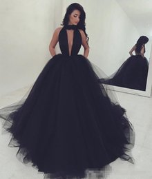 Black Gold Puffy Dress Australia - 2019 New Sexy Halter Backless Black Prom Dresses Long Formal Dress Evening Wear Puffy Tulle Women Cocktail Party Gowns Custom Made