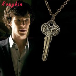 sherlock jewelry UK - New Necklaces Pendants for men women drama movie Detective Sherlock Holmes key room 221B zinc alloy link chain jewelry