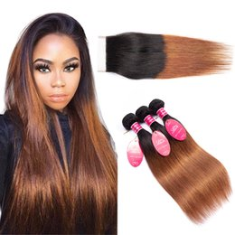 1b Straight Hair Australia - Ombre Grade 8a Brazilian Straight Human Hair bundles With 4x4 Lace Closure 1B 30 color straight wefts Products extensions longjiahair