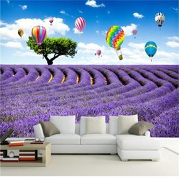 Discount balloon printing 3d photo wallpaper custom size mural living room purple lavender hot air balloon 3d picture sofa TV backdrop wall wallpaper wall sticker