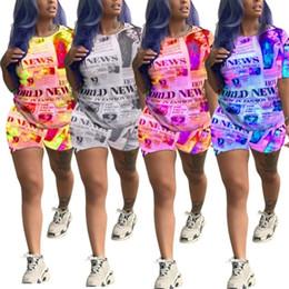$enCountryForm.capitalKeyWord Australia - Womens clothing designer tracksuit summer tshirt shorts suit sportsuit T-shirt Tee womens Tops pants legging fashion newspaper suit klw1746