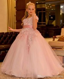$enCountryForm.capitalKeyWord NZ - Jewel Capped Ball Gown Ribbon Hand Made Flower Pink Beautiful Wedding Dress Flower Girl Dress Custom Made