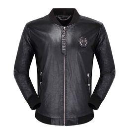 Genuine leather pilot online shopping - Men s jacket Korean version of the trend of men s wild gimmick letters hot drilling European station pilot jacket PU leather men