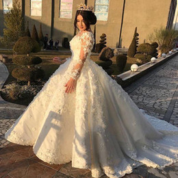 $enCountryForm.capitalKeyWord Australia - Glamorous Saudi 3D Floral Applique Ball Gown Wedding Dresses Sheer Jewel Long Sleeves Beads Ball Gown Bridal Dress Plus Size Wedding Dresses
