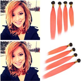 Ombre Malaysian Human Hair Extensions Australia - Black to Orange Ombre Malaysian Straight Human Hair Wefts Extensions 4Bundles #1B Orange Ombre Straight Virgin Human Hair Weaves 10-30""