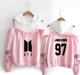 Bts alBums online shopping - KPOP BTS Bangtan Boys Harajuku Sweatshirt Women Hoodies BTS Love Yourself Album Fan Supportive Off shoulder Fleece Hooded Jacket