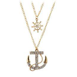 $enCountryForm.capitalKeyWord UK - Multilayer Necklace Simple Jewelry Accessories Alloy Wholesale Pendant Women Men Necklaces Cheap Popular Vintage Gift Anchor Necklace