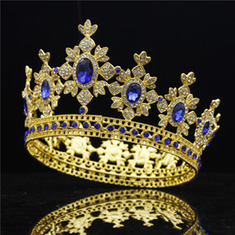 Red Gold Hair Australia - Fashion Royal King Wedding Crown Bride tiaras and Crowns Wedding Hair Jewelry Crystal Headdress Gold Diadem Pageant Bridal D19011102